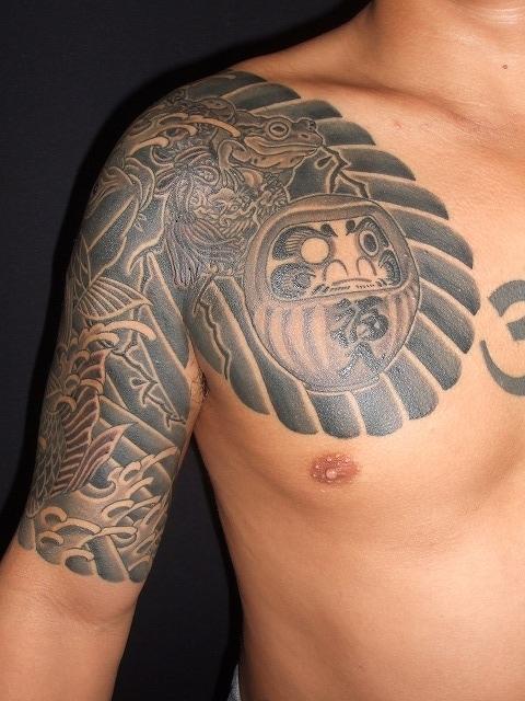 鯉と達磨(だるま)と蛙、ひょうたんのカラス彫りの刺青タトゥー