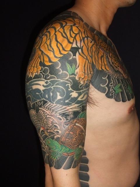 腕に虎と鶴亀の額彫りひかえカイナ五分の刺青タトゥー