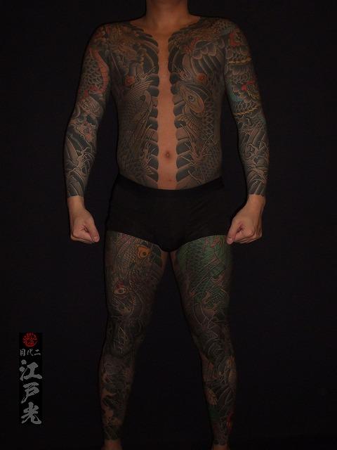 胸割り総身彫り、刺青タトゥー