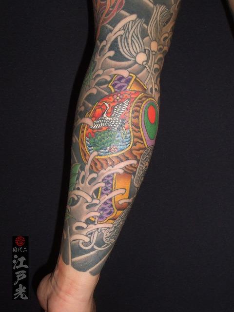 腕に小槌の刺青タトゥー