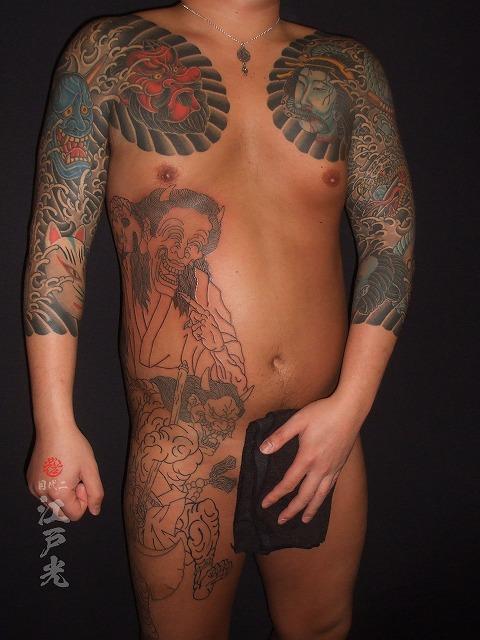 笑い般若,刺青,タトゥー,東京