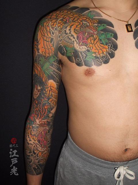 腕に虎退治の刺青タトゥー