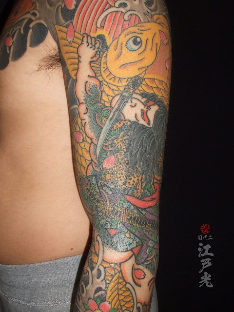 短命二郎阮小五(たんめいじろうげんしょうご)の鯉退治水滸伝の額彫りひかえカイナ八分梵字みきりの刺青タトゥー