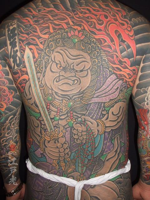 背中,不動明王,刺青,タトゥー