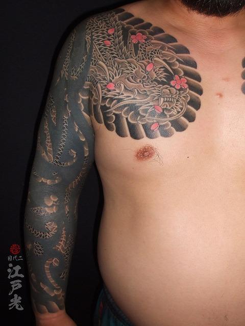 腕,トライバル,龍,和彫り,額彫り,ひかえ,カイナ,手首,十分,刺青,タトゥー