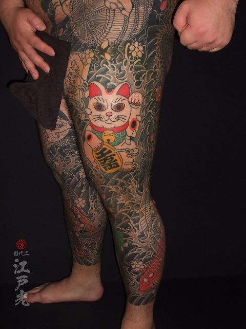 招き猫の刺青タトゥー:東京二代目江戸光