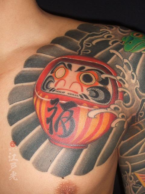 達磨、だるま、額彫りひかえカイナ七分の刺青タトゥー