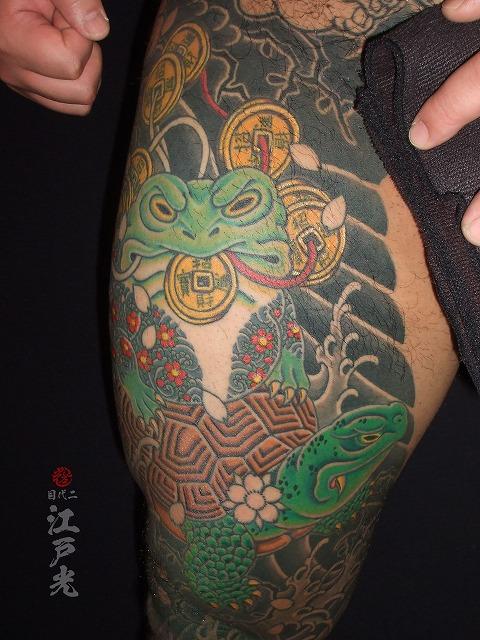 極悪二重彫りの銭蛙、極悪万年亀、縁起物の刺青