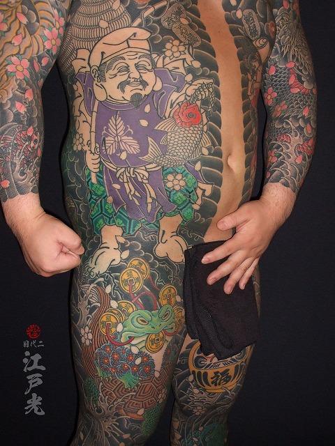 胸割り総身彫り、恵比寿天の刺青タトゥー