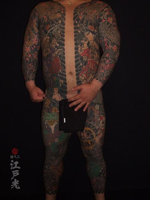 胸割り総身彫り、カエル、銭蛙刺青タトゥー