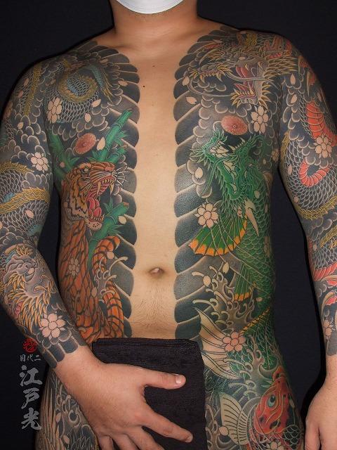 わき腹に龍魚、登竜門、胸割り総身彫り、和彫りの刺青