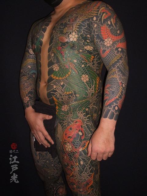 龍魚、登竜門、錦鯉、胸割り総身彫り、和彫り、足、わき腹の刺青