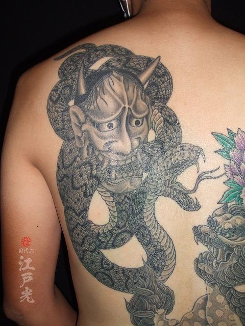 蛇,般若,背中,和彫り,刺青,タトゥー
