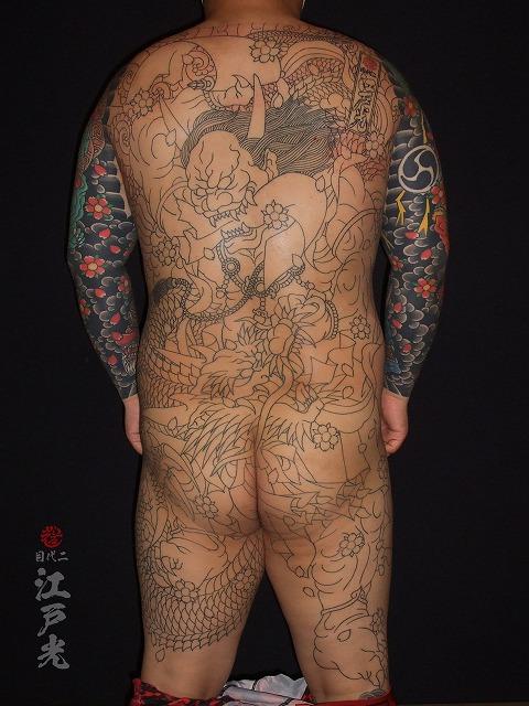 第六天魔王(だいろくてんまおう)背中、和彫りの刺青