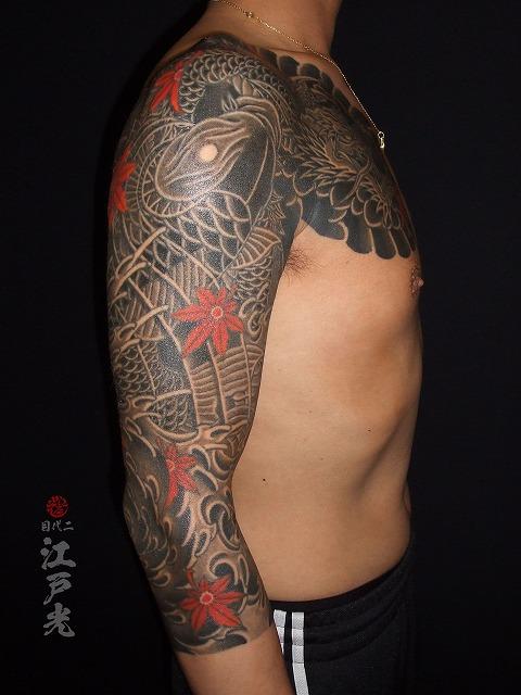 龍と鯉、渦潮の刺青