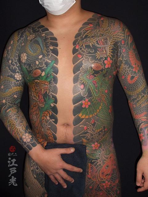 龍虎、登竜門、龍魚、鯉の刺青