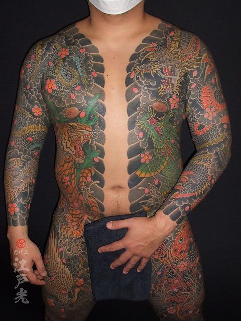 胸割り、龍虎、猛虎、黒龍桜、龍魚、登竜門の刺青