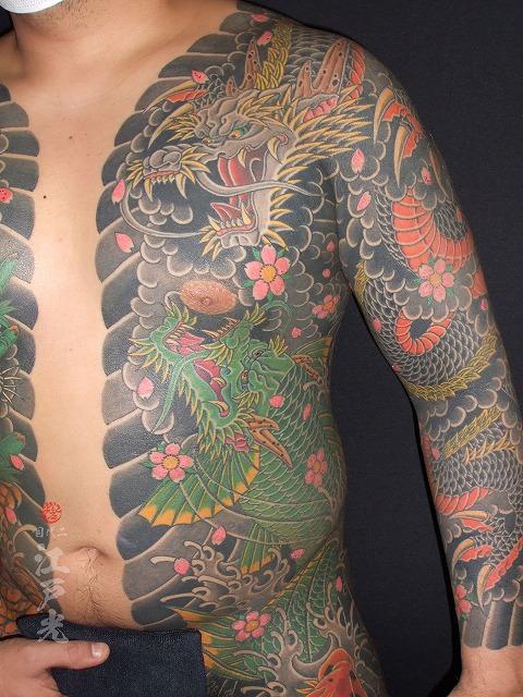 黒龍桜、龍魚、登竜門の刺青