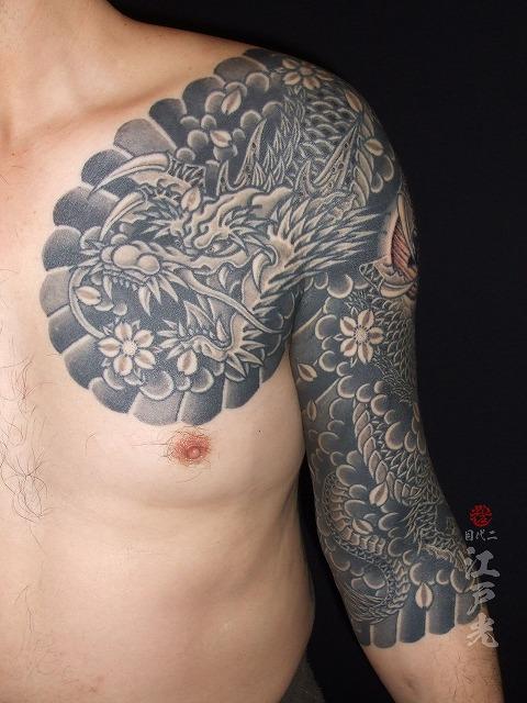 龍桜、カラス彫り、額彫りひかえカイナ七分の刺青