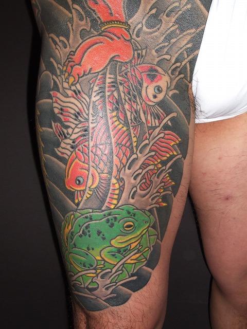 金魚、蛙の刺青