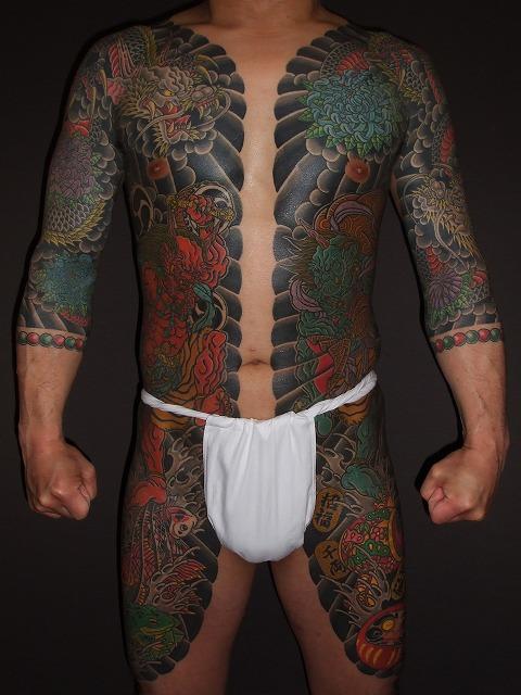 胸割り、雷神、風神の刺青