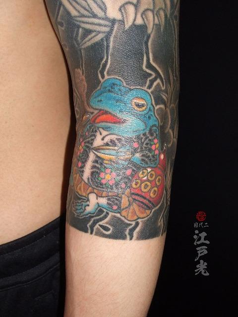 蛙、二重彫り、六文銭、煙管きせるの刺青タトゥー