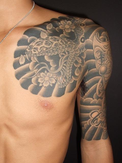 蛇の刺青、からす彫りと、
