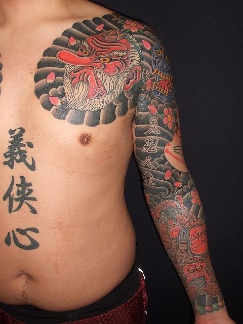 能面、天狗、般若、きつね、猿の刺青腕の額彫り
